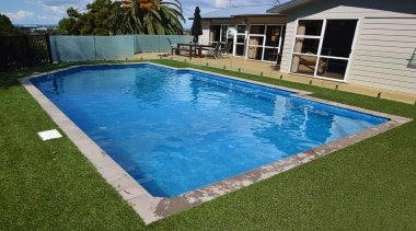Bronze Award recipient for Residential Swimming Pools under backyard, composite material, grass, house, lawn, leisure, property, real estate, swimming pool, water, yard, brown