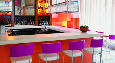 Hotel bar featuring Formica Tangelo Dotscreen - Hotel countertop, interior design, kitchen, restaurant, table, white, red