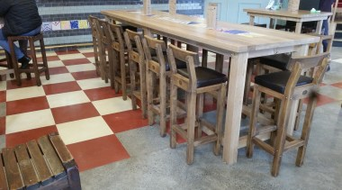 Micro Topping done at Toby Jugg Inn - chair, floor, flooring, furniture, table, wood, gray