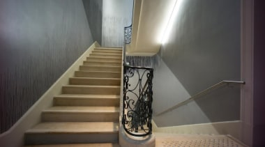 The Vincent Van Gogh Foundation is the result handrail, interior design, stairs, gray, black
