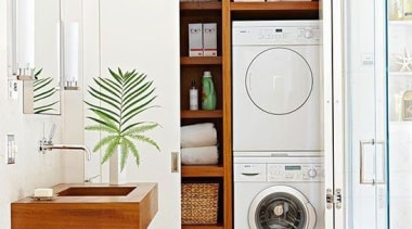 Utilitarian spaces such as laundry rooms and mudrooms bathroom, bathroom accessory, bathroom cabinet, cabinetry, home appliance, interior design, laundry room, major appliance, white