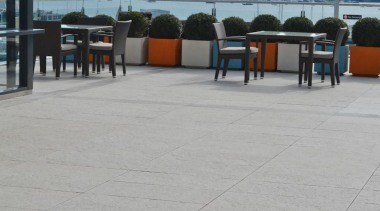RAK Stone series outdoor tiles here in 600x900x20mm boardwalk, roof, sea, sky, vacation, walkway, water, gray