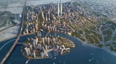A major new development coming soon to the aerial photography, artificial island, bird's eye view, city, metropolis, metropolitan area, residential area, suburb, urban design, water, water resources, gray, blue