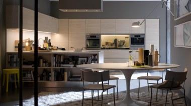 Gamma Kitchen designed by Antonio Citterio for Arclinea furniture, interior design, table, black, gray