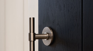 PBT15/50 - Solid Sprung Lever Handle Attached to door handle, hinge, lock, product design, tap, black, white