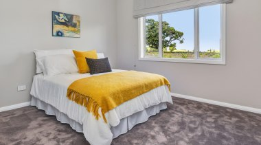 Lovely double bedroom in Landmark Homes Whangarei Showhome, bed frame, bedroom, floor, home, property, real estate, room, gray