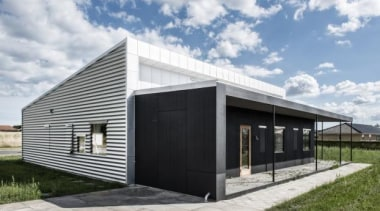 Upcycle House, Nyborg, DenmarkLENDAGER ARKITEKTER - World Architecture architecture, facade, home, house, real estate, shed, white