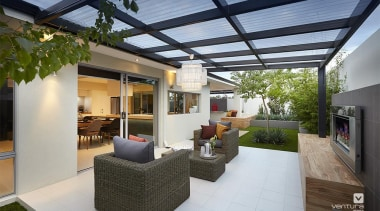 Alfresco entertaining. - The Allure Display Home - estate, house, interior design, patio, property, real estate, roof, gray