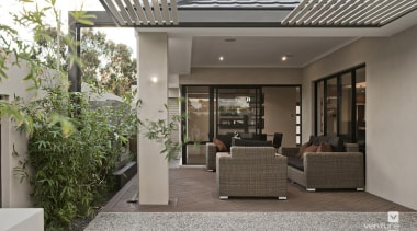 Alfresco design. - The Providence Display Home - courtyard, house, interior design, lobby, property, real estate, gray