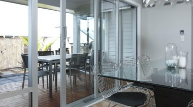 Natural anodised joinery. Large covered outdoor area increases floor, flooring, house, interior design, window, gray
