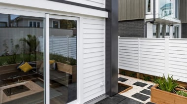 Simpler. Faster. Proven Weathertight. - A-lign Concealed Fix door, facade, home, house, real estate, siding, window, window covering, window treatment, white, black