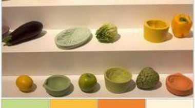 They range from jade to olive greens, light product design, vegetable, vegetarian food, orange