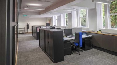 The existing timber floor system with its squeaky floor, flooring, interior design, office, gray, black