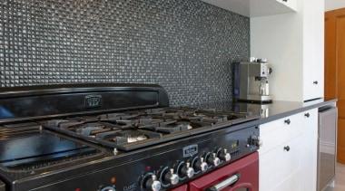 falcon range, glass mosaic tile splashback - Voyles countertop, flooring, home appliance, kitchen, kitchen appliance, kitchen stove, major appliance, black, gray