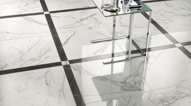 Marvel Calacatta floor tiles - Cb 9721375050116184 - angle, design, floor, flooring, furniture, glass, line, product design, structure, table, tile, wall, white