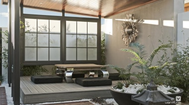 Japanese Alfresco Design. - The Dynasty Display Home courtyard, home, house, interior design, window, gray