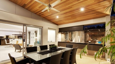 Alfresco entertaining. - The Haven Display Home - ceiling, interior design, real estate, brown, orange