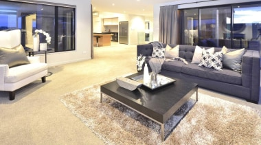 Living room design by Yellowfox - Living Room floor, flooring, furniture, hardwood, home, interior design, laminate flooring, living room, property, real estate, room, table, wood flooring, white, orange