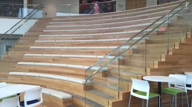 Glasshape - auditorium | floor | flooring | auditorium, floor, flooring, furniture, handrail, leisure centre, sport venue, stairs, structure, wall, wood, gray