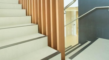 Laminam is a new concept in decorative surfaces baluster, floor, flooring, glass, handrail, hardwood, interior design, laminate flooring, product design, property, stairs, wall, wood, wood flooring, yellow
