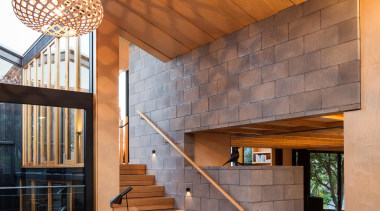 Takapuna, Auckland (designed in association with Rachael Rush) architecture, ceiling, daylighting, home, house, interior design, living room, lobby, real estate, stairs, wall, wood, brown, orange