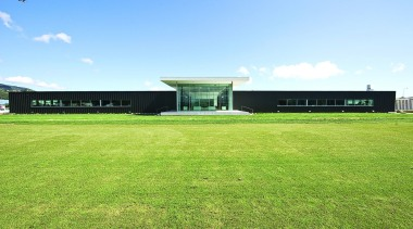KEV0444 - KEV0 444 - architecture | campus architecture, campus, corporate headquarters, daytime, energy, estate, farm, field, grass, grassland, house, land lot, lawn, pasture, plain, plant, property, real estate, sky, sport venue, structure, green, teal