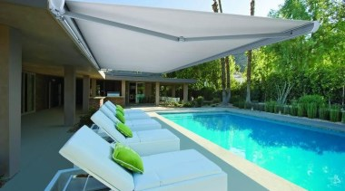 luxaflex garda awning - luxaflex garda awning - awning, estate, house, leisure, property, real estate, shade, sunlounger, swimming pool, villa, gray, teal
