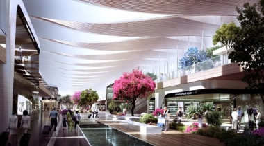 Sordo Madaleno Arquitectos and Pascall+Watson have shared their building, lobby, mixed use, shopping mall, gray, black, white
