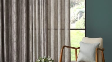 Tranquil, serene and inherently restful, this soft sheer chair, curtain, floor, furniture, home, interior design, shade, table, textile, window, window blind, window covering, window treatment, wood, gray