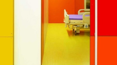 Walls featuring three colors in Melteca Sunflower, Melteca door, floor, flooring, furniture, interior design, orange, product, red, wall, yellow, yellow, red