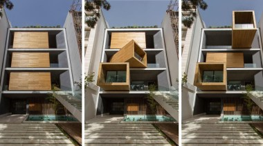 The Sharifi-ha House in Tehran can adapt to architecture, building, condominium, facade, home, house, property, real estate, residential area, gray, black