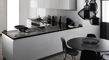 Black and White - Black and White - black, countertop, furniture, interior design, kitchen, product design, table, gray, white, black