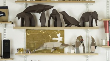 Poligon is a collection of foldable metallic sculptures furniture, interior design, product, product design, shelf, shelving, white
