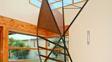 This huge sculpture was recoated in a variety daylighting, product design, stairs, structure, white