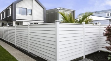 Simpler. Faster. Proven Weathertight. - A-lign Fencing - facade, fence, home, home fencing, house, outdoor structure, property, real estate, shed, siding, white, gray