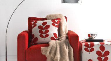 Toto fabric co-ordinates perfectly with our plain - couch, furniture, interior design, lamp, product, product design, red, table, white