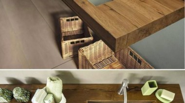 on wooden bench! - Transparent sink - floor floor, furniture, product design, table, wood, brown
