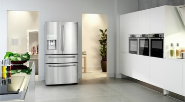 Refrigerator – French door – SRF679SWLSThe new Samsung floor, flooring, furniture, home appliance, interior design, kitchen, kitchen appliance, major appliance, product design, refrigerator, white, gray