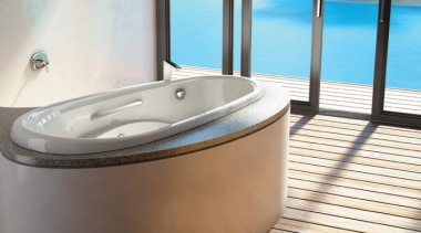 This spectacular drop-in tub comes with three levels bathtub, jacuzzi, plumbing fixture, product design, swimming pool, white