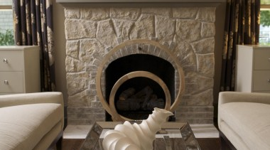 Historic Bungalow Renovation - Living Room Fireplace - chair, fireplace, floor, flooring, furniture, hearth, home, interior design, living room, room, table, wall, brown, black, gray