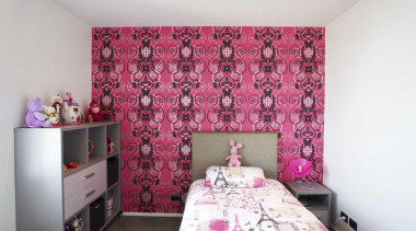 Child's bedroom with pink wallpaper - Child's Room bed sheet, bedroom, home, interior design, pink, purple, real estate, room, textile, wall, white