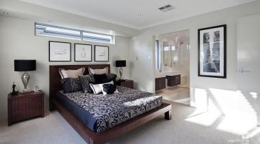 Master ensuite design. - The Nirvana Display Home bed frame, bedroom, ceiling, estate, home, interior design, property, real estate, room, gray