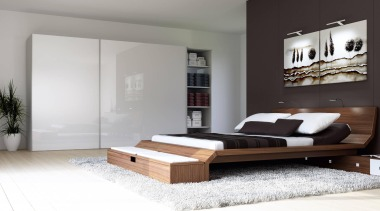 A normal cupboard or well styled wall? That bed, bed frame, bedroom, floor, furniture, interior design, mattress, product design, white