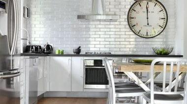 Alloy tiles, stament light pendants and large clock! countertop, cuisine classique, floor, flooring, hardwood, home, interior design, kitchen, laminate flooring, room, table, tile, wall, wood, wood flooring, white