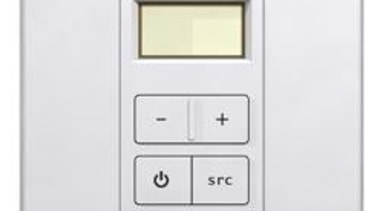 Place the wall mounted Volume-Source Control (VSC) in electronic device, electronics, light switch, technology, white
