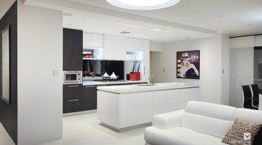 Kitchen design. - The Montrose Display Home - interior design, living room, gray, white