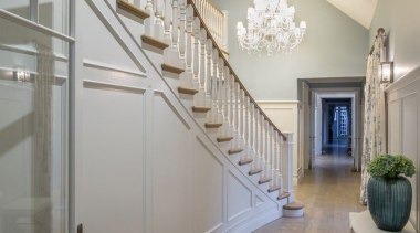Stairway - architecture | ceiling | daylighting | architecture, ceiling, daylighting, estate, floor, flooring, hall, handrail, home, interior design, lobby, stairs, wall, wood flooring, gray