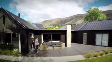 Episode 2 is located in Wanaka, South Island architecture, estate, facade, home, house, property, real estate, residential area, roof, black, gray