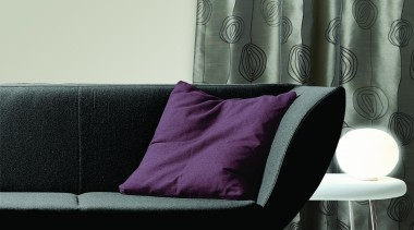 Diva Flat - angle | chair | couch angle, chair, couch, curtain, cushion, furniture, interior design, living room, product, purple, sofa bed, table, textile, window covering, window treatment, white, gray, black