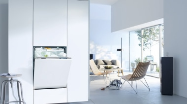 ​​​​​​​A fully integrated dishwasher from Miele  See architecture, furniture, home, home appliance, house, interior design, table, window, white